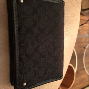 Coach Black canvas and leather card holder